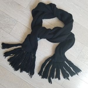 Armani Exchange Black Knit Scarf with Tassels